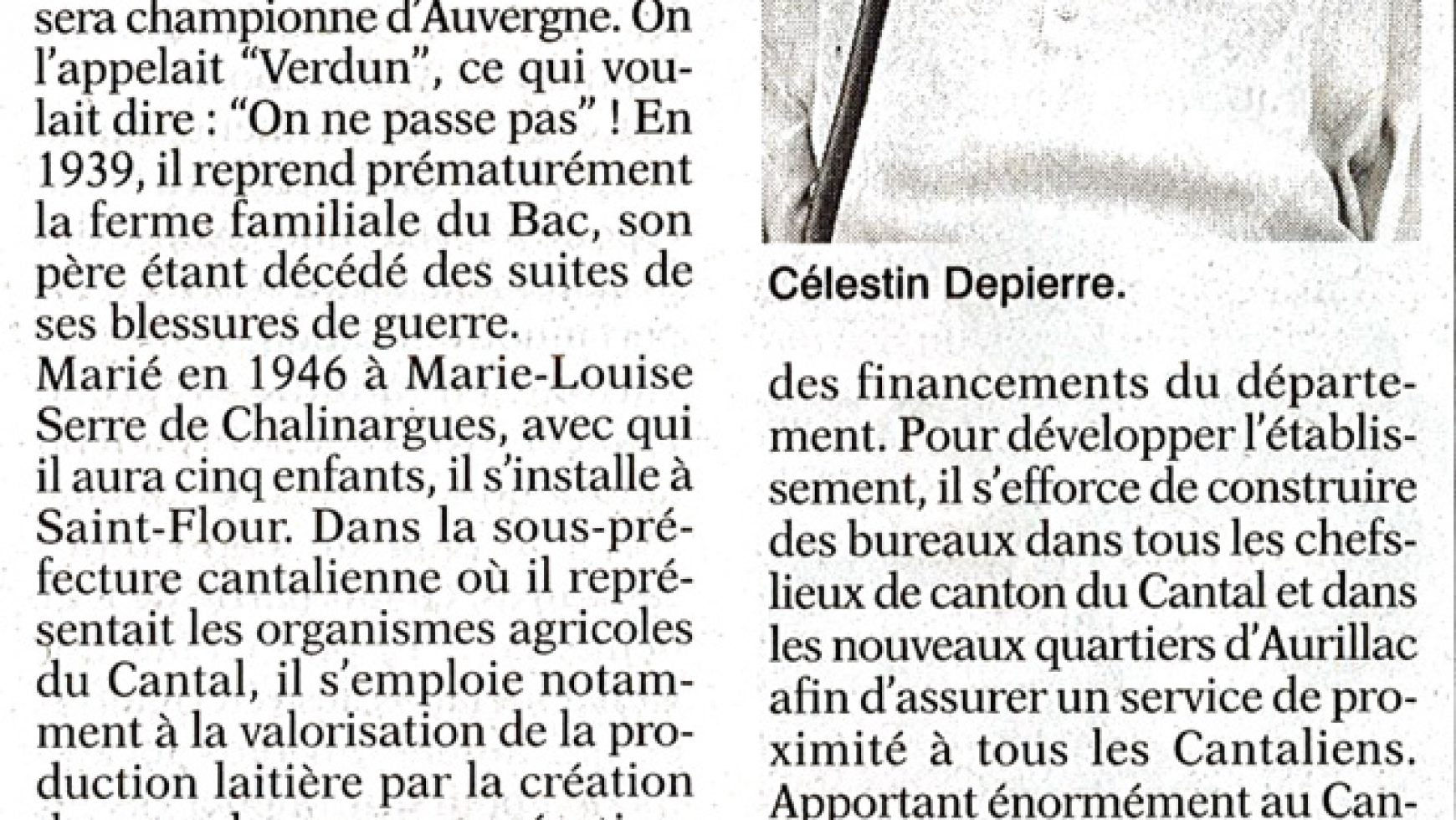 Célestin Depierre est décédé – L'Union du Cantal – 09-12 Aout 2017