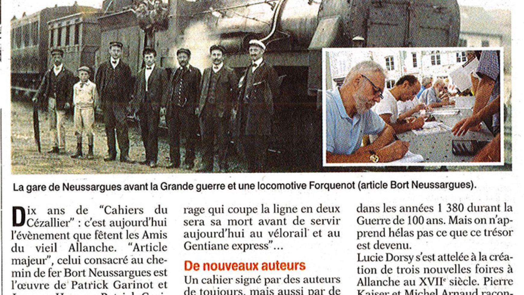 Dix ans de publication pour les Amis du Vieil Allanche – L'Union du Cantal – 09-12 Aout 2017