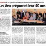 Les AVA vont fêter leurs 40 ans – La Montagne – 30 octobre 2018