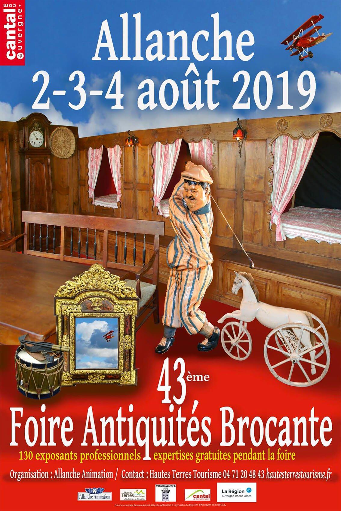FOIRE À LA BROCANTE ET AUX ANTIQUITÉS 2-3-4 AOUT 2019 - ALLANCHE
