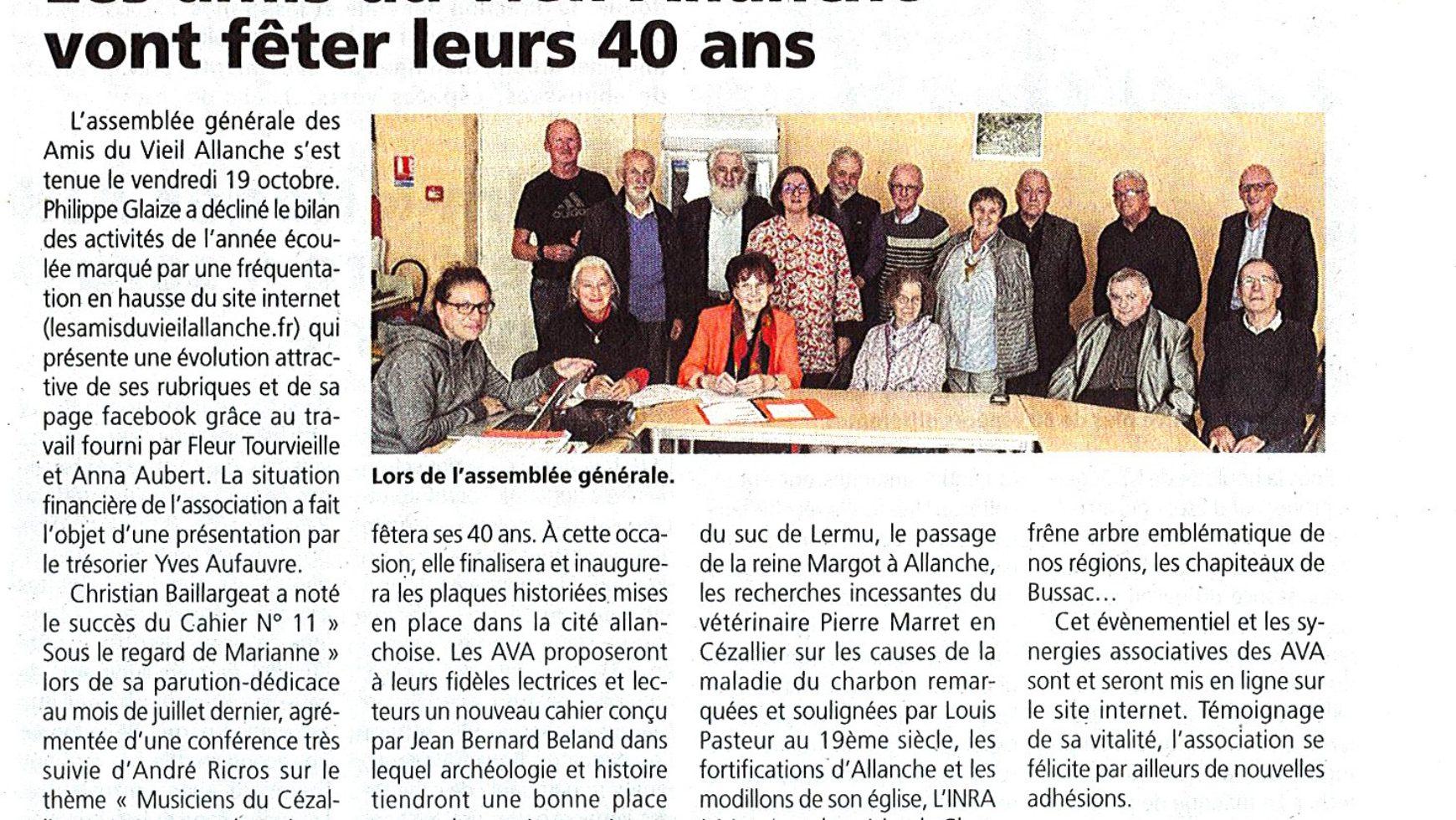 Les AVA vont fêter leurs 40 ans – La Voix du Cantal – 25 octobre 2018