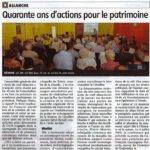 Quarante ans d'actions pour le patrimoine – La Montagne – 31 octobre 2019