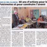 40 ans de sauvegarde du patrimoine pour construire l'avenir – La Voix du Cantal – 21 novembre 2019