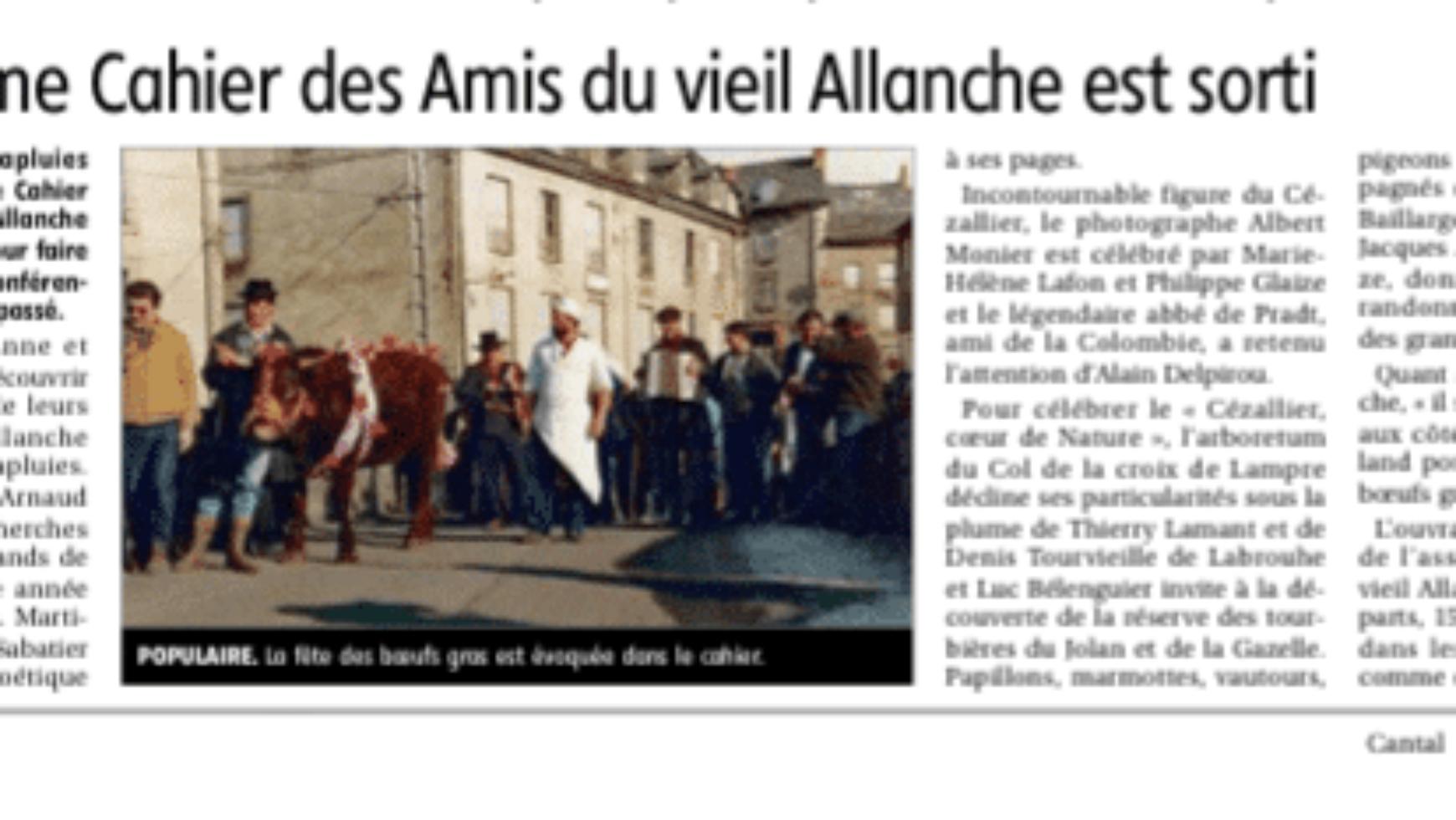 Le treizième Cahier des Amis du vieil Allanche est sorti – La Montagne – 18/19 juillet 2020